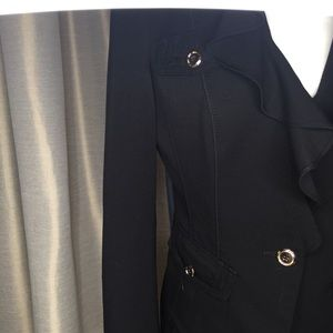 White House Black Market Jackets & Coats - WHBM Black & Gold V Neck Ruffle Blazer